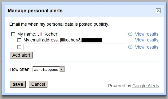 Set up Google search alerts for your data
