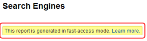 Google Analytics Fast Access Mode