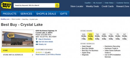 BestBuy's Store Location Page