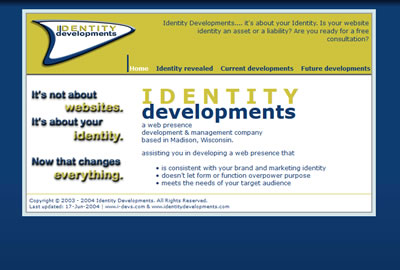 Identity Developments home page, 2nd version.