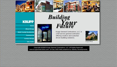 Krupp General Contractors home page as designed by Identity Developments.