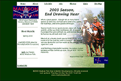 Madison Polo Club home page as designed by Identity Developments.